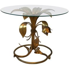 1950s Italian Arthur Court Style Gilded Lily Table For Sale