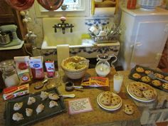 Kathleen Holmes dollhouse kitchen.  Making chocolate chip cookies with Kim Marshall Saulter