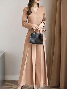 Stylewe Solid Jumpsuits For Work Elegant Surplice Neck Khaki Long Sleeve Jumpsuits Women's Fashion Dresses, Hijab Fashion, White Pants Jumpsuit, Tailored Jumpsuit, Dressy Rompers And Jumpsuits, Jumpsuits For Women Formal, Mode Hijab, Elegant Dresses, Cheap Dresses