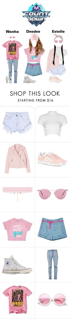 """d e b u t s t a g e ;; L.A Boy, Chaotic"" by official-chaos ❤ liked on Polyvore featuring OneTeaspoon, Glamorous, adidas Originals, Oliver Peoples, Converse, Topman, Junk Food Clothing, ZeroUV and adidas"