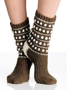 Polka Dot Popcorn Socks: free crochet pattern