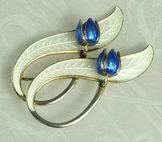 Vintage Danish Jewelry | Scandinavian Modernist Enamel and Sterling Pin Signed AKSEL HOLMSEN ...