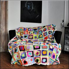 Traditional Granny Square Throw, Ready To Ship, Handmade Crotchet Blanket, Single Bed Cover, Afghan Throw, Home Decor, Crochet Bed Cover #CrochetThrow #Grannysquare #TraditionalGrannySquareThrow #SingleBedCover #CrochetBedCover #CrochetBlanket