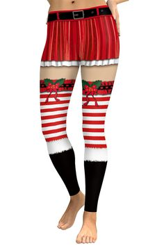 ee85364cc258c Elastic Belt Print Striped Christmas Workout Leggings Ruby