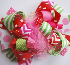 boutique FUNKY fun STRAWBERRY GIRL hair bow clip by andjane