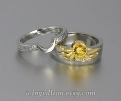 Sun And Moon Eclipse Engagement Wedding Ring Set In 18k 14k Gold With Yellow Shire