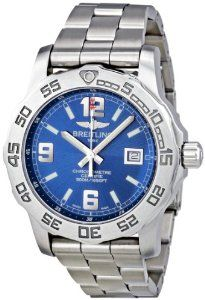 Breitling Men's A7438710/C849SS Colt 44 Blue Dial Watch Breitling. $2369.71. Durable sapphire crystal protects watch from scratches,. Blue dial watch. Case diameter: 44 mm. Quartz movement. Water-resistant to 500 M (1500 feet). Save 25%!