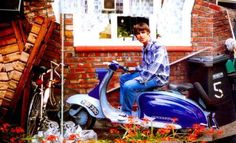 1994, Manchester: Liam Gallagher on his Series 1 #Lambretta #scooter
