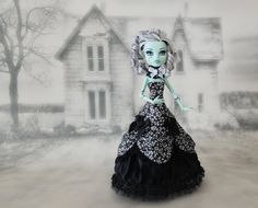 Monster High doll clothes  black and white floral victorian dress and a cameo choker. sold on Etsy at JonnaJonzon