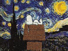 Snoopy sleeps on a Starry Night. :)