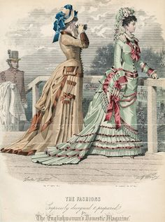 "May promenade fashions with decorative  ""parasol"" or cornet pockets (not used for parasols), 1876 England, The Englishwoman's Domestic Magazine"