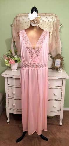 Vintage Lace Nightgown, Deco Style Nightdress, Drop Waist Nightie, Peach Peignoir, Cottage Chic Nightwear, Mothers day Gift, Size Large by SownThreadsClothing on Etsy
