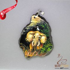 HAND PAINTE ELEPHANT PENDANT FOR NECKLACE GEMSTONE WITH SILVER BAIL ZL807471 #ZL #Pendant