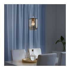 IKEA - JAKOBSBYN, Pendant lamp shade, clear glass, This lampshade in glass is mouth blown by a skilled craftsperson and therefore unique. Kitchen Lighting Over Table, Rustic Lamp Shades, Bedroom Lamps, Unique Lamps, Vintage Lamps, Transparent, Clear Glass, Turquoise Pendant, Lamp Table