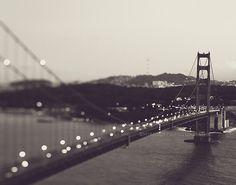 photographie noire et blanche de San Francisco, Golden Gate bridge à imprimer nuit, gris argent, paysage urbain, paysage, décor moderne, Californie