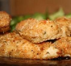 Weight Watchers Parmesan Chicken... YUM! Could use a little salt, best with chicken thighs or small breasts.