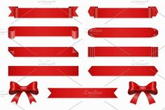 Set of ribbons for anniversary Graphics Set of ribbons for anniversary. Vector banner and bow, straight red tape isolated on white backgroun by Microvector Creative Icon, Creative Sketches, Business Brochure, Business Card Logo, Banner Shapes, Red Tape, Paint Markers, Pencil Illustration, Watercolor And Ink