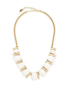 Faceted Oval Gem & Leaf Necklace | rue21