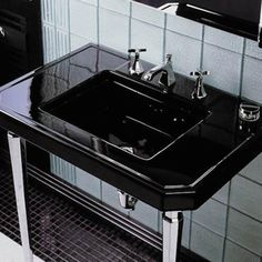 NEVER, ever choose a rectangular basin.  Headache to clean those corners.  Rounded basins only.  Website is vast supplier, though:  http://www.plumbersurplus.com/Prod/Kohler-K-3020-7-Kathryn-32-x-22-Fireclay-Console-Tabletop-with-10-Centers-Black-Black/84706/Cat/49