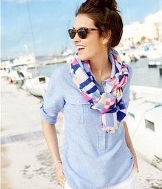 love this Camp Popover Shirt & scarf! Preppy Mode, Preppy Style, Nautical Style, Casual Outfits, Summer Outfits, Cute Outfits, Style Blog, Style Me, Hair Style
