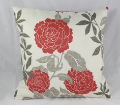 Pillow Cover Waverly Floral Emma's Lacquer Fabric in Red , gray and Off White   Free Shipping. $24.50, via Etsy.