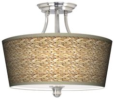 Seagrass Tapered Drum Giclee Ceiling Light -