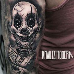 Howl of Scream by @khailtattooer at Sinister Ink Tattoo in Perth Australia. #khailtattooer #sinisterink #perth #australia #clown #howlofscream #jackinthebox #tattoo #tattoos #tattoosnob