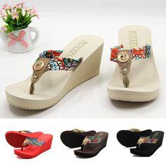 Women Summer Comfort Wedge Platform Flip Flops Thong Sandals Shoes Beach Slipper