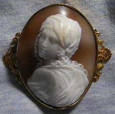 Cameo: Beatrice Cenci   Material: Shell   Date and Origin: Cameo is Italian circa 1860/1870   Frame: Frame is English, not marked but ...