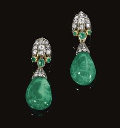 PAIR OF EMERALD AND DIAMOND EARRINGS, COMPOSITE, CIRCA 1870 AND LATER. Each surmount of stylised lotus design, set with rose, cushion-shaped and single-cut diamonds, and circular-cut and cushion-shaped emeralds, circa 1870, suspending an emerald drop capped with rose stones, post fittings.