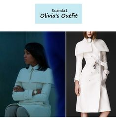 A new white coat, the lush Burberry Prorsum Double Dunchess caped trench coat Spring 2013. Worn in 'It's handled'