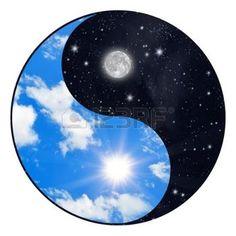 sun  moon: Yin Yang symbol - sun and moon Stock Photo