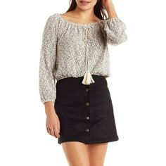 Charlotte Russe Marled Blouson Tassel Top ($21) ❤ liked on Polyvore featuring tops, blouses, light gray combo, charlotte russe, long sleeve knit tops, knit blouse, long sleeve tops and tie top