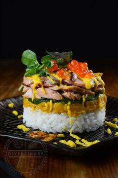 Keta Salmon Sushi Stacks - made with delicious and affordable Keta/Chum salmon, kabocha squash, white miso, marinated cucumbers, and ikura. Best Seafood Recipes, Healthy Salmon Recipes, Real Food Recipes, Great Recipes, Favorite Recipes, Amazing Recipes, Recipe Ideas, Delicious Recipes, Good Food