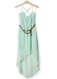 Green Sleeveless Belt Asymmetrical Chiffon Dress