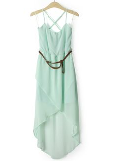 Green Sleeveless Belt Asymmetrical Chiffon Dress US$34.80