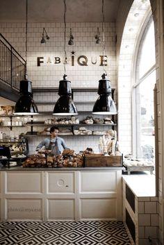 back wall Fabrique Cafe: Stockholm - DustJacket Attic Cafe Bar, Cafe Shop, Bakery Cafe, Bakery Shops, Restaurant Bar, Restaurant Design, Stockholm Restaurant, Industrial Restaurant, Restaurants