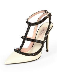 X2TJB Valentino Rockstud Colorblock Leather Sandal, Ivory/Black