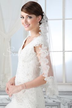 """#87036 - One Tier 25"""" Beaded Lace Edge Veil - Veils - Wedding Accessories - Simply Bridal"""