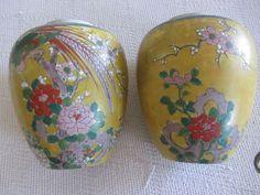 ginger jar japan mid century post 1947 set of 2 no lid birds raised floral nice #unknown