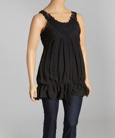 Look at this #zulilyfind! Black Embellished Tank - Plus by Simply Irresistible #zulilyfinds