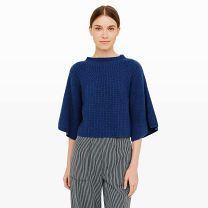 Carolena Cashmere Sweater - Woven in a beautifully textured yarn, the Carolena takes a chic approach to knitwear with its cropped silhouette and charming flouncy sleeves. Match its pronounced proportions with high-waist trousers or a flowy skirt.