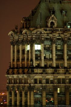 Top of the Book Tower at night.  Just another one of Detroit's historic gems............What a gorgeous building!!!- Photos — Historic Detroit