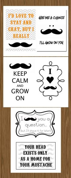 Mustache Bash Party Coordinating Printables Set of 6 (ea. 5x7) - Baby Shower or Other Party. $6.00, via Etsy.
