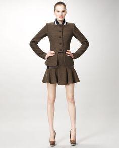 Stella McCartney Varsity-Collar Jacket & Mixed-Tweed Skirt l Neiman Marcus