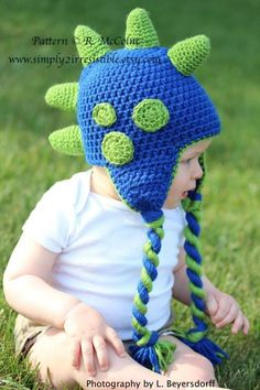 Dinosaur Hat with optional Earflaps | Craftsy