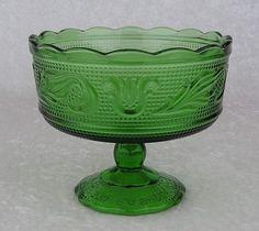 Vintage Green Glass Scalloped Pedestal Compote Bowl