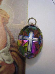 Vintage 1950s Rainbow Prism Crystal Cross Pendant by Glamaroni, $16.00