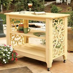 potting bench - simulate this look with rubber mats painted to look like wrought iron.