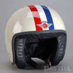 Davida jet Helmets:  two tone Cream,Red White Blue Stripe  Product Code: 80291